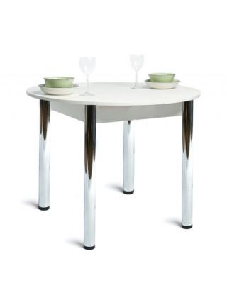 Стол раздвижной круглый 94х94 белый текстурный/ноги хром