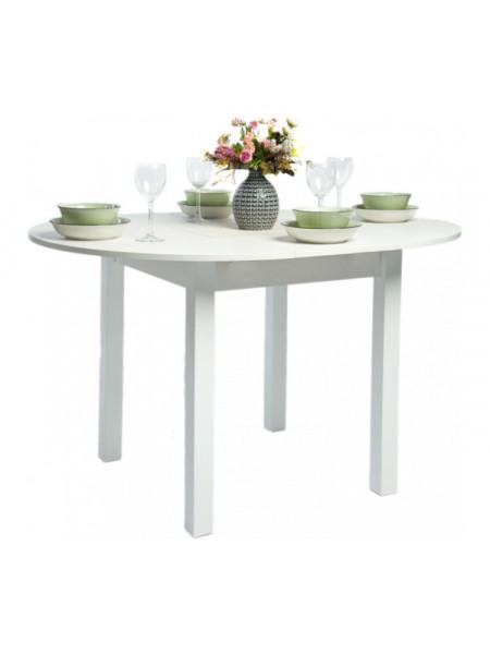 Стол раздвижной круглый 94х94 белый текстурный/ноги квадро белые