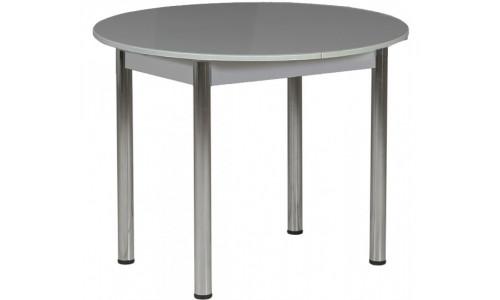 Стол раздвижной круглый 94х94 серый/ноги хром