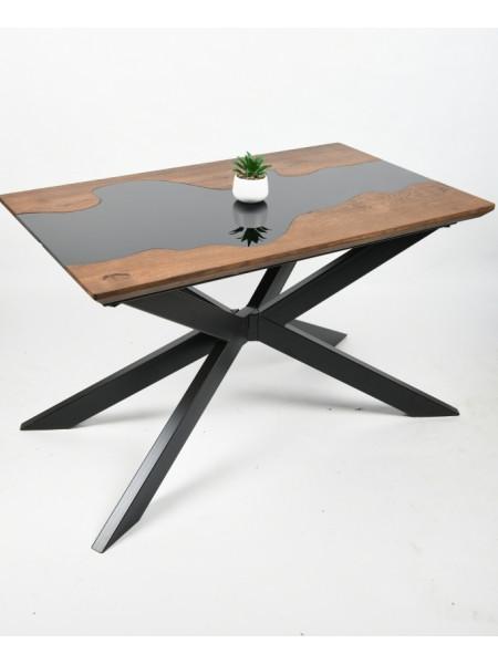 Обеденный стол Ривер мореный/черный