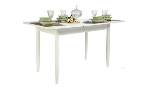 Стол раздвижной прямоугольный 110х70 белый текстурный/ноги конусные белые