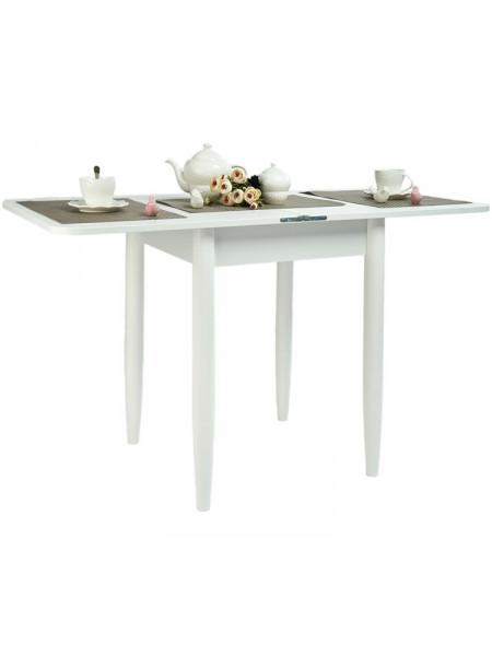Стол ломберный 60х60 белый текстурный/ноги конусные белые