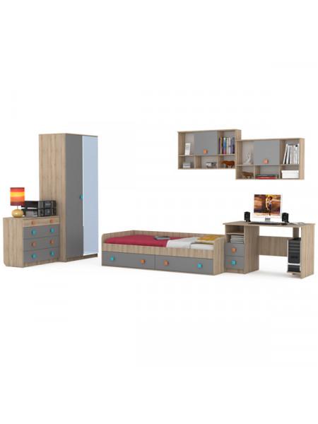 Мебель в молодёжную комнату Доминика № 20 цвет бук песочный/серый шифер