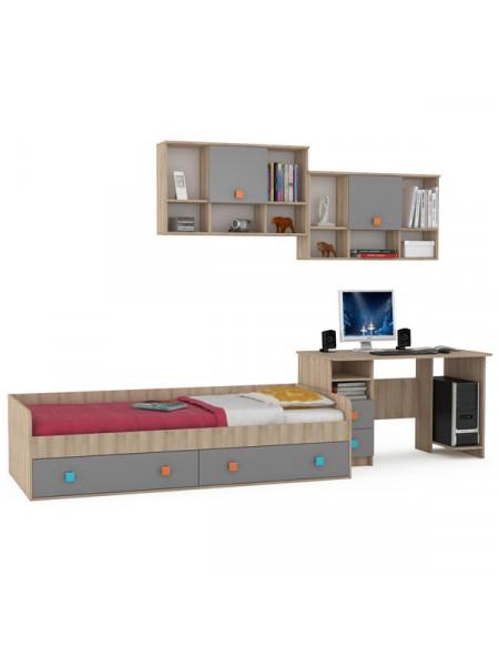 Кровать с ящиками со столом и полками Доминика № 21 цвет бук песочный/серый шифер
