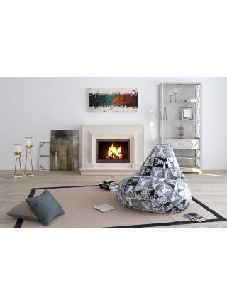 Кресло Мешок Груша с Оленями Ч/Б (L, Классический)