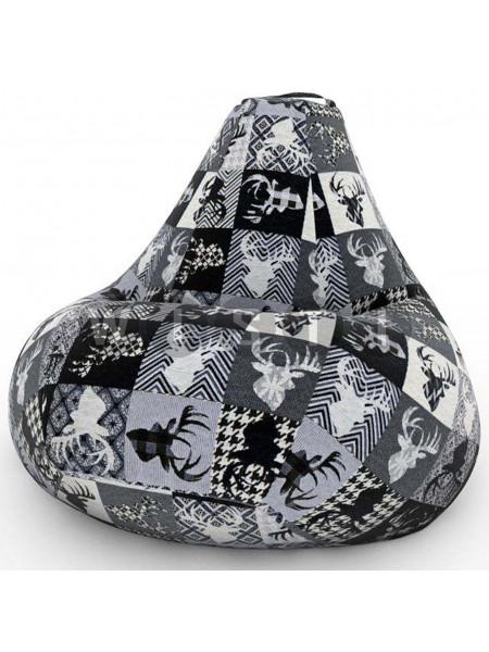 Кресло Мешок Груша с Оленями Ч/Б (XL, Классический)