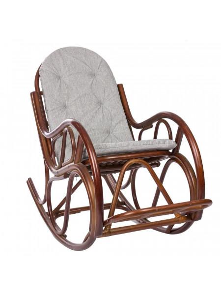 Кресло-качалка CLASSIC с подушкой Коньяк/Серый