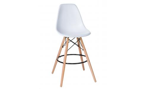 Стул барный LMZL-PP623G (ножки светлый бук, цвет сиденья белый)