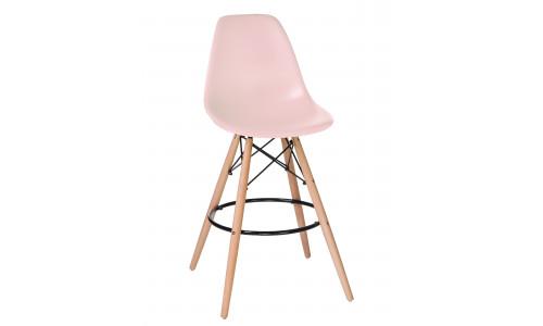 Стул барный LMZL-PP638G (ножки светлый бук, цвет сиденья светло-розовый)