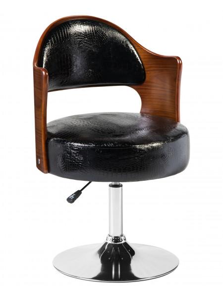 Кресло дизайнерское LMZ-5388 (коричневое дерево, чёрный крокодил)