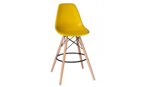 Стул барный LMZL-PP638G (ножки светлый бук, цвет сиденья жёлтый)