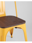 Стул Tolix Wood желтый сиденье деревянное