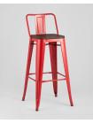 Барный стул WOOD со спинкой красный глянцевый