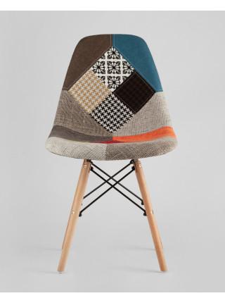 Cтул Eames DSW в тканевой обивке в стиле пэчворк