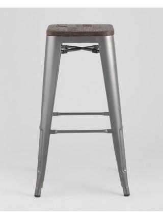 Барный стул WOOD серебристый матовый