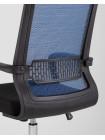 Офисное кресло TopChairs Style голубое в обивке с сеткой