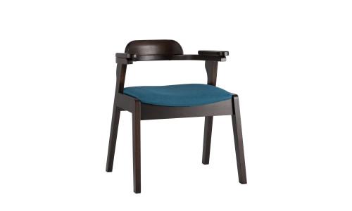 Стул VINCENT синий обеденный деревянный массив гевеи с мягким сиденьем со спинкой и подлокотниками