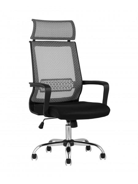 Офисное кресло TopChairs Style серое в обивке с сеткой