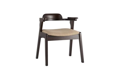Стул VINCENT бежевый обеденный деревянный массив гивеи с мягким сиденьем со спинкой и подлокотниками