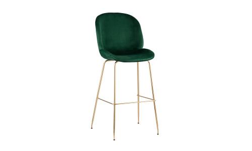 Барный стул Beetle со спинкой изумрудный обивка мебельный бархат золотые ножки