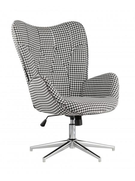 Кресло регулируемое Филадельфия черно-белое мягкое тканевое