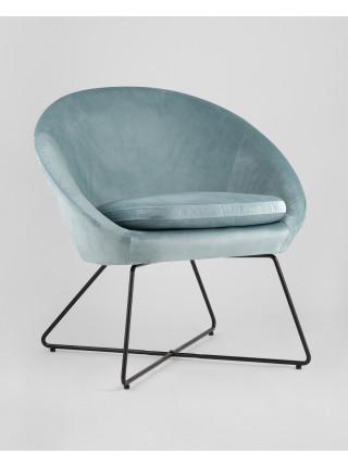 Кресло Колумбия голубое мягкое обивка велюр