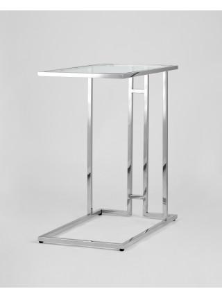 Стол журнальный Бостон 50*32 каркас из нержавеющей стали серебро стекло прозрачное