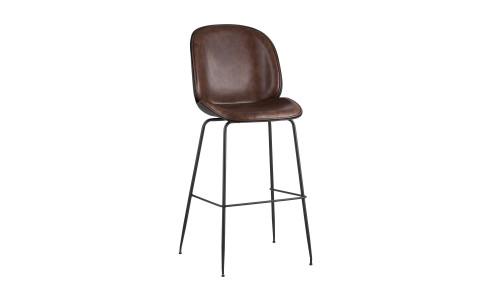 Барный стул Beetle коричневый обивка экокожа черные ножки