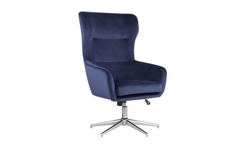 Кресло Артис синее обивка велюр регулируемое на металлической ножке
