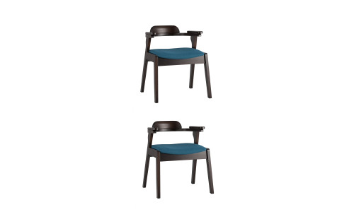Комплект стульев VINCENT в мягкой синей обивке