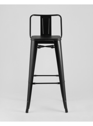 Барный стул WOOD со спинкой черный глянцевый