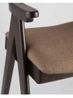 Стул OLAV кофейный обеденный деревянный массив гeвеи с мягким сиденьем со спинкой и подлокотниками