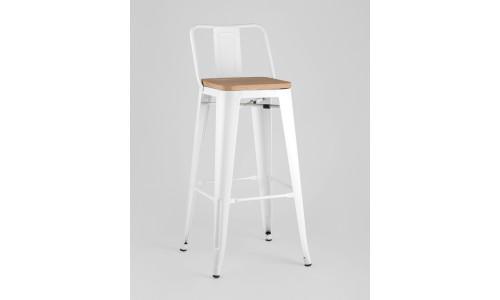 Барный стул WOOD со спинкой белый глянцевый