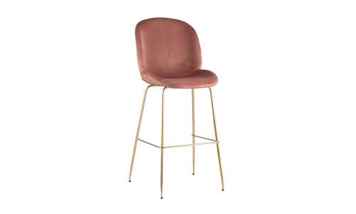 Барный стул Beetle со спинкой пудровый мягкий каркас металлический