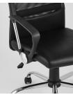 Офисное кресло TopChairs Bonus черное в обивке из экокожи и сетки