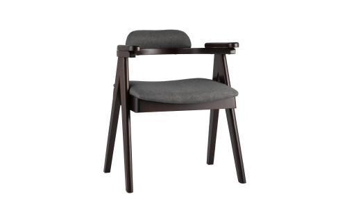 Стул OLAV темно-серый обеденный деревянный массив гeвеи с мягким сиденьем со спинкой и подлокотниками