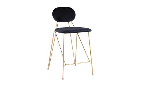 Барный стул Элис полубарный синий обивка вельвет
