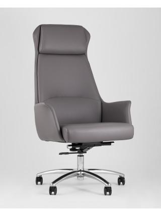 Копмьютерное кресло TopChairs Viking офисное серое обивка экокожа