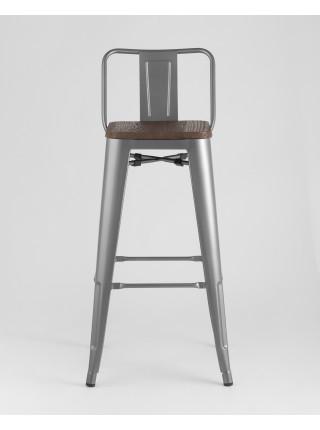 Барный стул WOOD со спинкой серебристый матовый