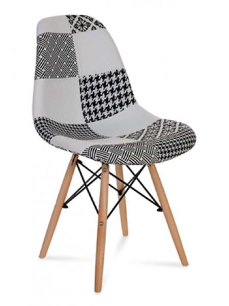 Стул Eames обивка в стиле пэчворк черно-белый