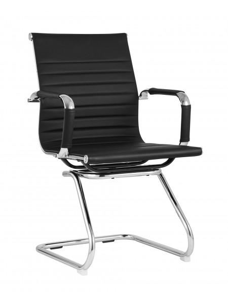 Офисное кресло TopChairs Visit черное в обивке из экокожи