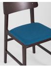 Стул ODEN синий обеденный деревянный массив гевеи с мягким сиденьем и спинкой