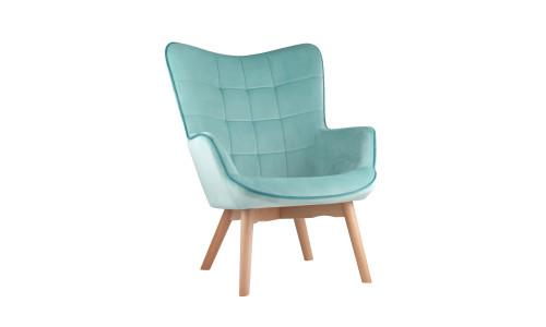 Кресло Манго мятное обивка вельвет с деревянными ножками