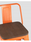 Барный стул Tolix Wood со спинкой оранжевый глянцевый деревянное сиденье