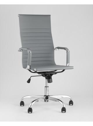 Копмьютерное кресло City офисное с подлокотниками серое экокожа хром наклон