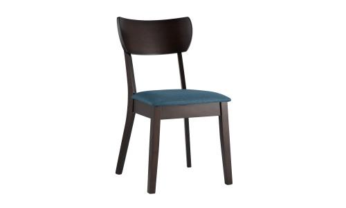 Стул TOMAS синий обеденный деревянный массив гевеи с мягким тканевым сиденьем