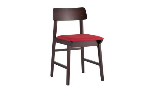 Стул ODEN красный обеденный деревянный массив гевеи с мягким сиденьем и спинкой