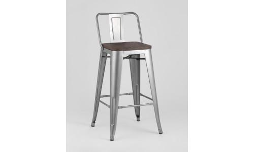 Барный стул WOOD со спинкой серебристый StoolGroup