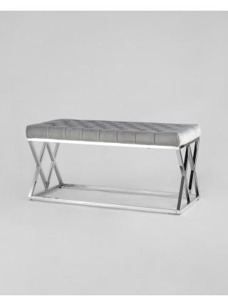 Банкетка ИНСИГНИЯ серый велюр нержавеющая сталь серебро
