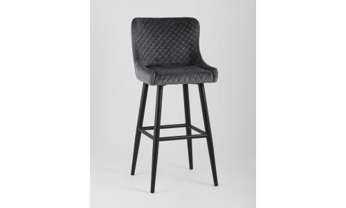 Барный стул Ститч велюр серый